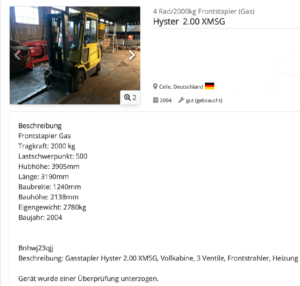 Hyster 2.00 XMSG